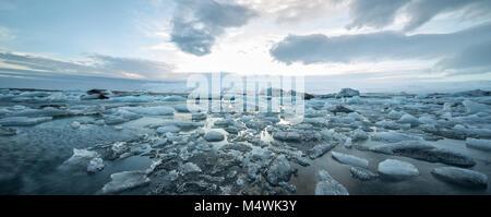 Icelandic landscape of icy sea surface - Stock Photo