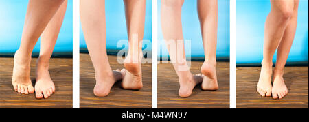 Close up a woman with itchy feet uses his big toe to scratch his other foot on wooden floor. - Stock Photo