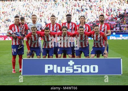 Atletico de Madrid's  alignament before  La Liga match between Atletico de Madrid and Athletic de Bilbao  at the - Stock Photo