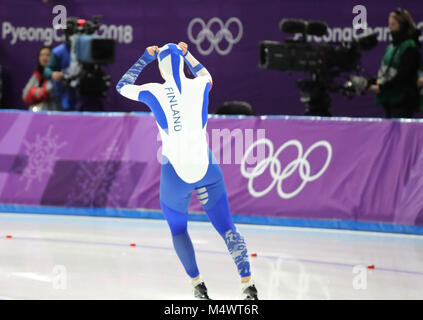 Gangneung, South Korea. 18th Feb, 2018. ELINA RISKU of Finland during Speed Skating: Ladies' 500m at Gangneung Oval - Stock Photo