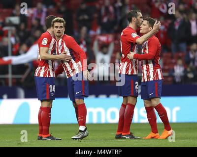 Madrid, Spain. 18th Feb, 2018. Atletico Madrid's players celebrate their victory against Athletic Bilbao in their - Stock Photo