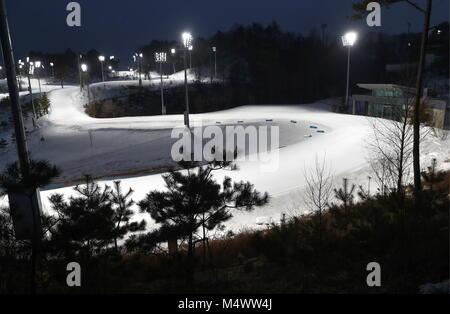 Pyeongchang, South Korea. 18th Feb, 2018. PYEONGCHANG, SOUTH KOREA - FEBRUARY 18, 2018: Alpensia Cross-Country Skiing - Stock Photo