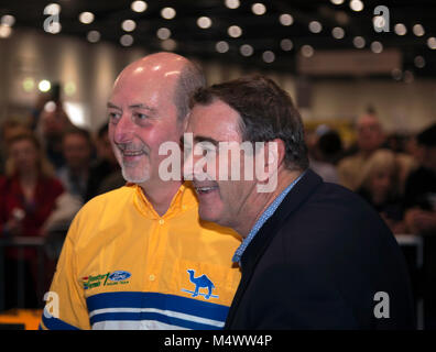 Nigel Mansell CBE, posing with a  Benetton F1 Team Mechanic,   in the Grand Avenue, after his drive in the Benetton - Stock Photo
