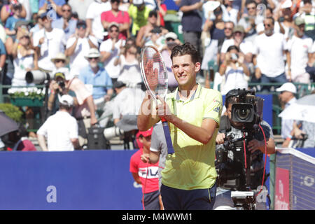 Buenos Aires, Argentina. 18th Feb, 2018. Dominic Thiem wins his second title of Buenos Aires ATP 250 this sunday - Stock Photo