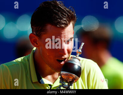 Buenos Aires City, Argentina. 18th Feb, 2018. Austrian tennis player Dominic Thiem holds the trophy of the Argentina - Stock Photo