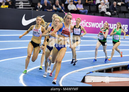 Birmingham, UK. 18th Feb, 2018. Eilish McColgan (front) in action during today's Women's 1500m race  during SPAR - Stock Photo