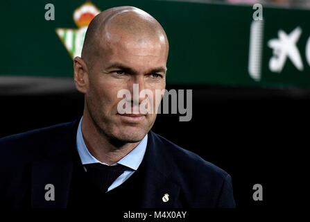 The technician of the Real Madrid Zinedine Zidane during the football match belonging to League Santander; facing - Stock Photo