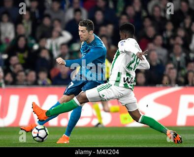 The player Cristiano Ronaldo of the Real Madrid during the football match belonging to League Santander; facing - Stock Photo