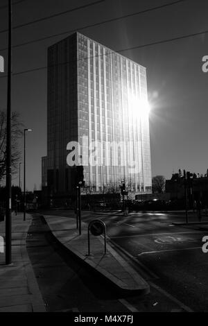 Black & White Photograph of Britannia Point formerly Brown and Root Tower, Colliers Wood, London, England, UK. Credit: - Stock Photo