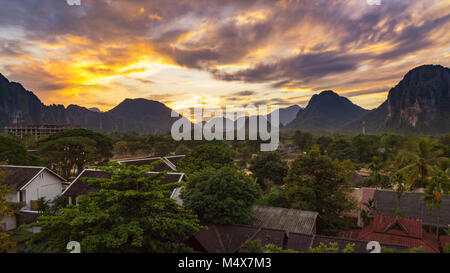 Landscape view panorama at Sunset in Vang Vieng, Laos. - Stock Photo