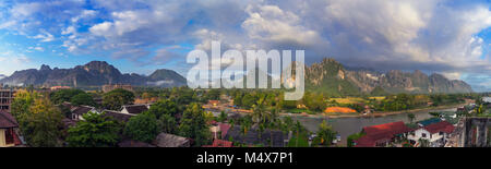 Landscape view panorama at morning in Vang Vieng, Laos. - Stock Photo