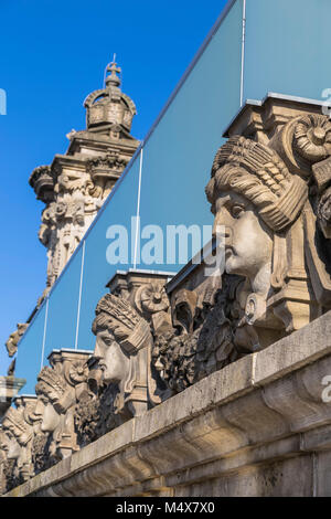 The bas-relief on the cornice of the building of the Bundestag. Germany. Berlin - Stock Photo