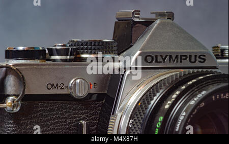 Vintage Olympus 35mm film camera - Stock Photo