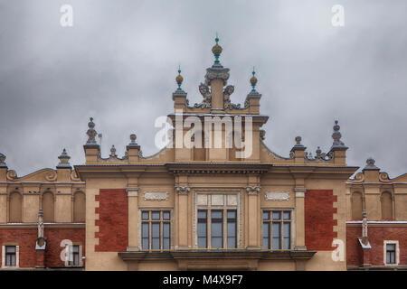 Krakow, Poland - February 12, 2018 Krakow Cloth Hall facade - Stock Photo