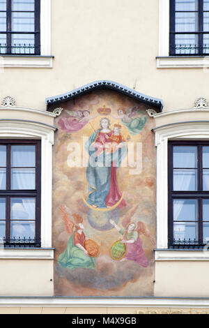 Krakow, Poland - February 12, 2018 15th century Cellarich´s family tenement called Under the Painting, Kamienica - Stock Photo