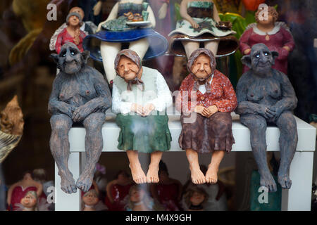 Krakow, Poland - February 12, 2018 Figurines in a souvenir shop - Stock Photo