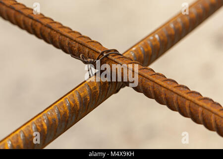 Construction workers fabricating steel reinforcement bar at the construction site.The reinforcement bar was ties - Stock Photo