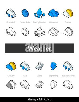 Set of isometric icons in otline style, colored and black versions - Stock Photo