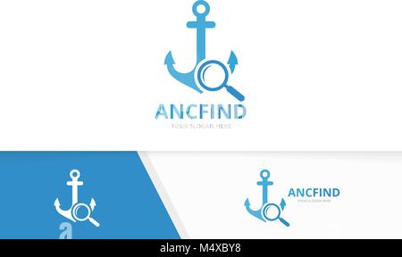 Vector anchor and loupe logo combination. Marine and magnifying symbol or icon. Unique navy and search logotype - Stock Photo