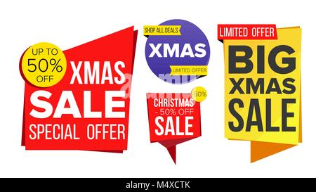 Christmas Sale Banner Set Vector. Winter December Online Shopping. Discount Banners. Xmas Sale Banner Tag. Holidays - Stock Photo