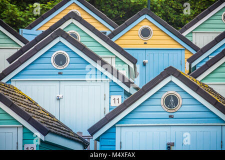 Colorful beach huts in Bournemouth - Stock Photo