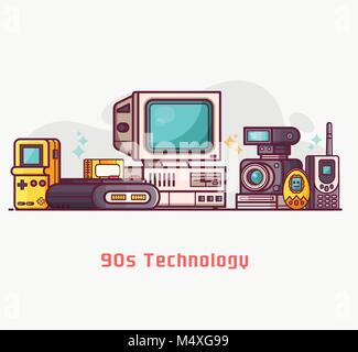 Vintage Tech and Electronic Devices Set - Stock Photo