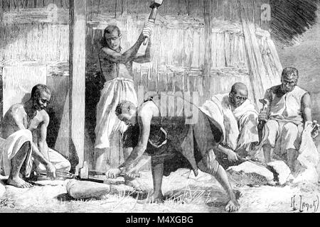 Blacksmith and Forge in Abyssinia or Ethiopia (Engraving, 1888) - Stock Photo