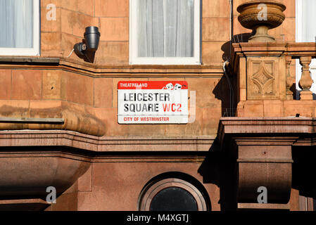 Leicester Square street sign. Road sign. Theatreland. City of Westminster WC2. Wall mounted. Space for copy - Stock Photo