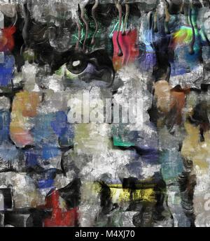Modern art. Stains of paint. Mondrian style.