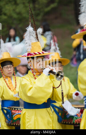 The farmers dance occurred to celebrate the harvest in Korea. - Stock Photo