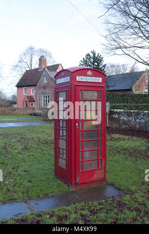 Old telephone box now used to house defibrillator - Stock Photo