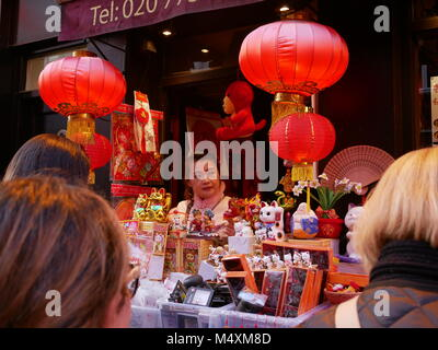 Street stall in London's Chinatown during lunar new year 2018. - Stock Photo