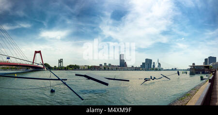 Modern architecture of Rotterdam skyline with the Erasmusbrug (Erasmus Bridge) and Katendrecht in the background, - Stock Photo