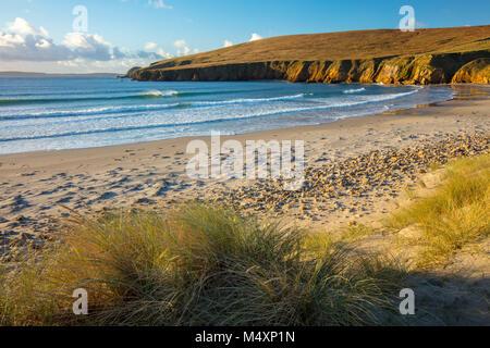 Beach and dunes near Binroe Point, Carrowteige, County Mayo, Ireland. - Stock Photo