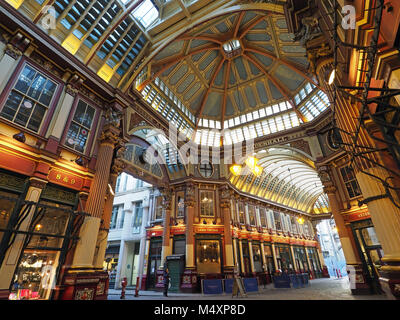 A wide angle view of the interior of Leadenhall Market in London - Stock Photo