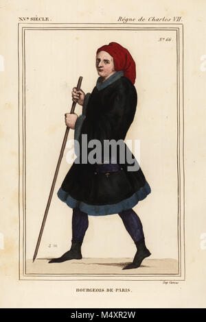 Bourgeois man of Paris, 15th century. Handcoloured lithograph by Leopold Massard after a miniature in the manuscript - Stock Photo
