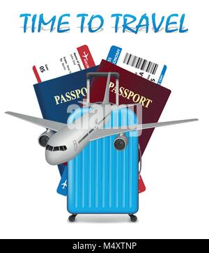 Air travel international vacation concept. Business travel banner with airline tickets, realistic airplane and suitcase - Stock Photo