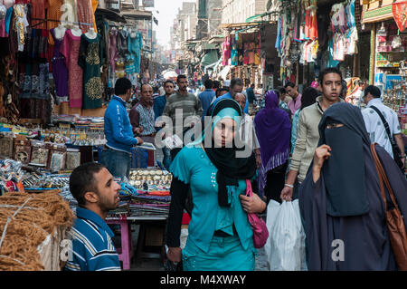 Street market along Muski in the Khan el-Khalili quarter of Islamic Cairo, Egypt - Stock Photo