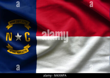 Fabric texture of the North Carolina Flag - Flags from the USA - Stock Photo