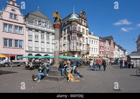 City life at main market, market cross, Trier, Rhineland-Palatinate, Germany, Europe - Stock Photo