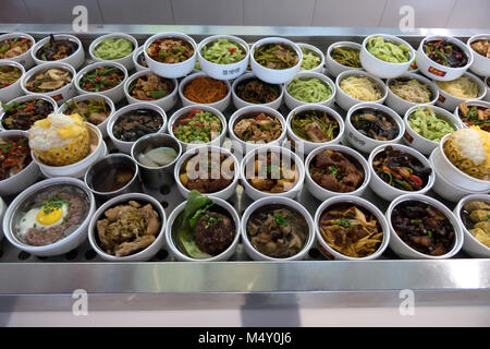 Bowls of traditional Chinese food in restaurant kitchen. Chengdu, Sichuan, China, Asia