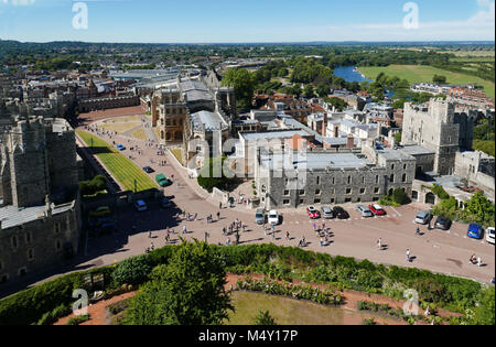 High view from Round Tower looking down over Moat Garden, Lower & Middle Wards of Windsor Castle, Henry III Tower, - Stock Photo