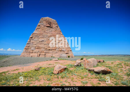 The Ames Monument is a large pyramid in Albany County, Wyoming, designed by Henry Hobson Richardson. - Stock Photo