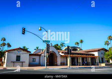 Exterior view of Mission San Juan Capistrano, now a museum in San Juan Capistrano, California, USA - Stock Photo