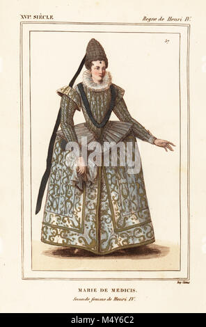 Marie de Medici, second wife of King Henry IV of France. Handcoloured lithograph after a contemporary print of the - Stock Photo