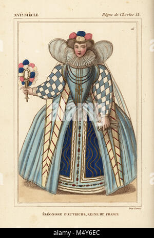 Eleanor of Austria, Queen of France, wife of King Charles IX. Handcoloured lithograph after a portrait in Roger - Stock Photo