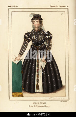 Mary Queen of Scots, Marie Stuart, queen of France and Scotland. Illustration drawn and lithographed by Madame Calon - Stock Photo