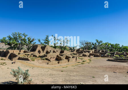 Stone walls and foundation of Pueblo Great House. - Stock Photo