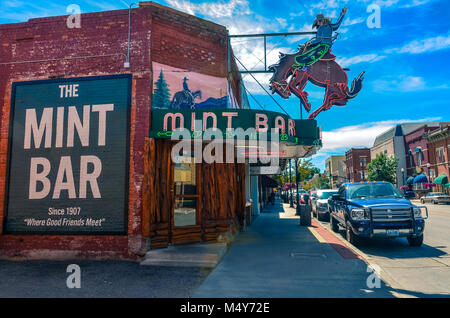 Wyoming's legendary meeting place, the Mint Bar is Sheridan's oldest bar and the best place to order a ditch, straight - Stock Photo