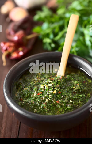 Raw homemade Argentinian green Chimichurri or Chimmichurri salsa or sauce made of parsley, garlic, oregano, hot - Stock Photo